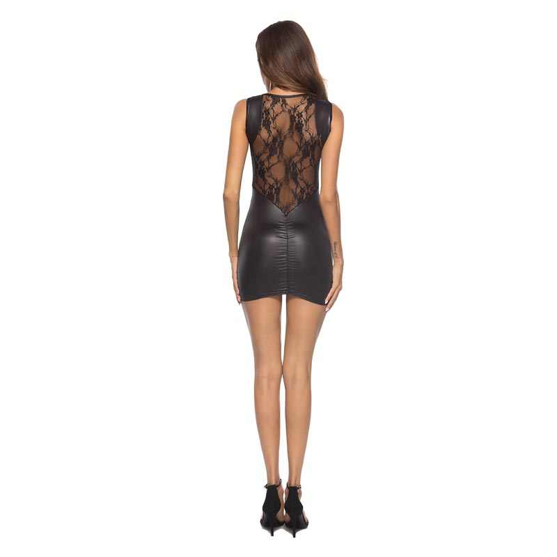 3cc9f44e6ec Sexy Woman Lady Faux Leather Short Mini Dress Lace Stiching Round Neck  Sleeveless Bodycon Dress Slim Fit Club Dresses Plus Size