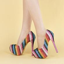 Новый Arival 2017 Разноцветные Невесты свадебная обувь Каблук Круглым носком женщины Свадьба обувь Насосы