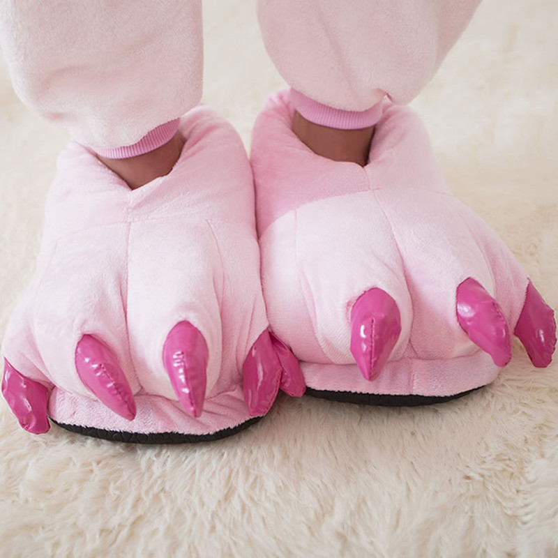 Men&Women Slippers Home Funny Animal Paw Children Slippers Indoor Fuzzy Winter Plush Slippers Female Flip Flops Warm Slides designer fluffy fur women winter slippers female plush home slides indoor casual shoes chaussure femme