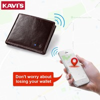 KAVIS New Technology SMART Men Wallet RFID Genuine Leather Anti Lost Intelligent Bluetooth Wallets Suit for IOS, Android Male