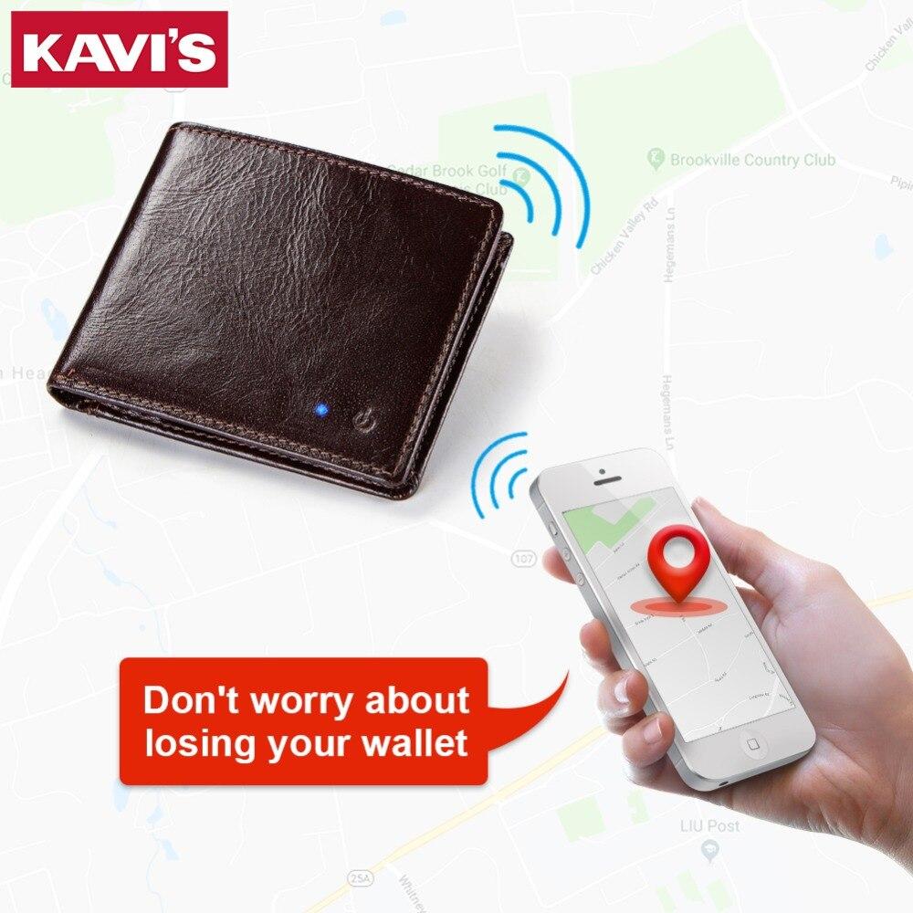 KAVIS Nouvelle Technologie SMART Hommes Portefeuille RFID Véritable En Cuir Anti Perdu Intelligente Bluetooth Portefeuilles Costume pour IOS, Android Mâle