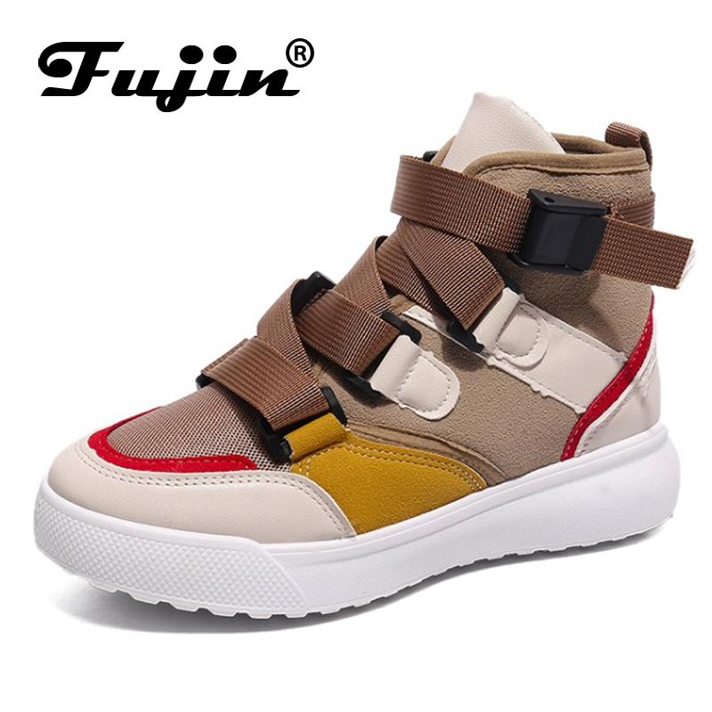 Fujin 2019 Casual Shoes Women's Spring Autumn Sneakers Buckle Strap High Low Top Lady Fashion Sneakers Platform Shoes Footwear