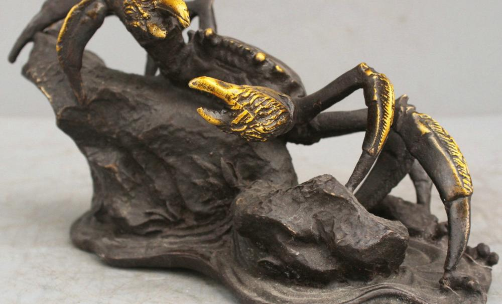 11'' Chinese Feng Shui Crabs Bronze Statue