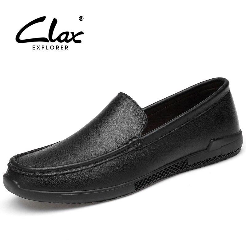 CLAX Man Leather Mocassins Genuine Leather Men's Dress Shoe Male Boat Shoe Loafers Social Shoe Luxury