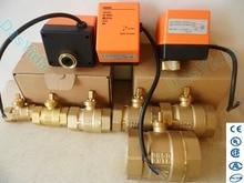 """Actionneur électrique, vanne à bille en laiton motorisé, vanne darrêt automatique, 2 voies, 3 fils, ca 220v DN15(G1/2 """") à DN50(G2"""")"""