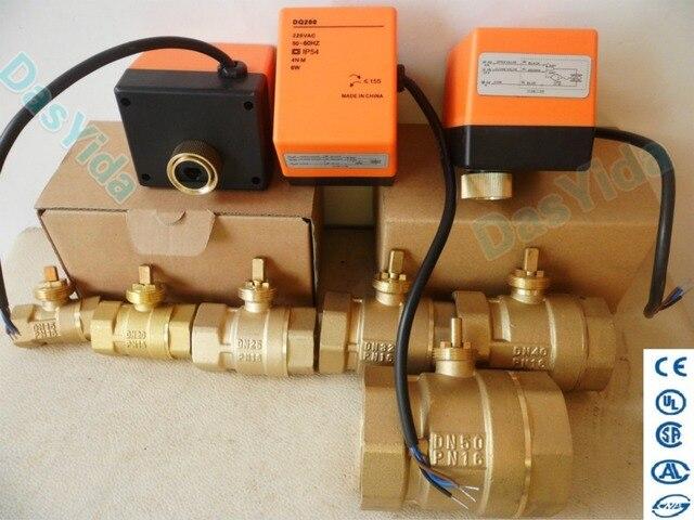 "Válvula de esfera de bronze motorizada, atuador elétrico, ac220v, dn15 (g1/2 "") para dn50 (g2"") válvula de interruptor de controle automático, 2 vias, 3 fios"