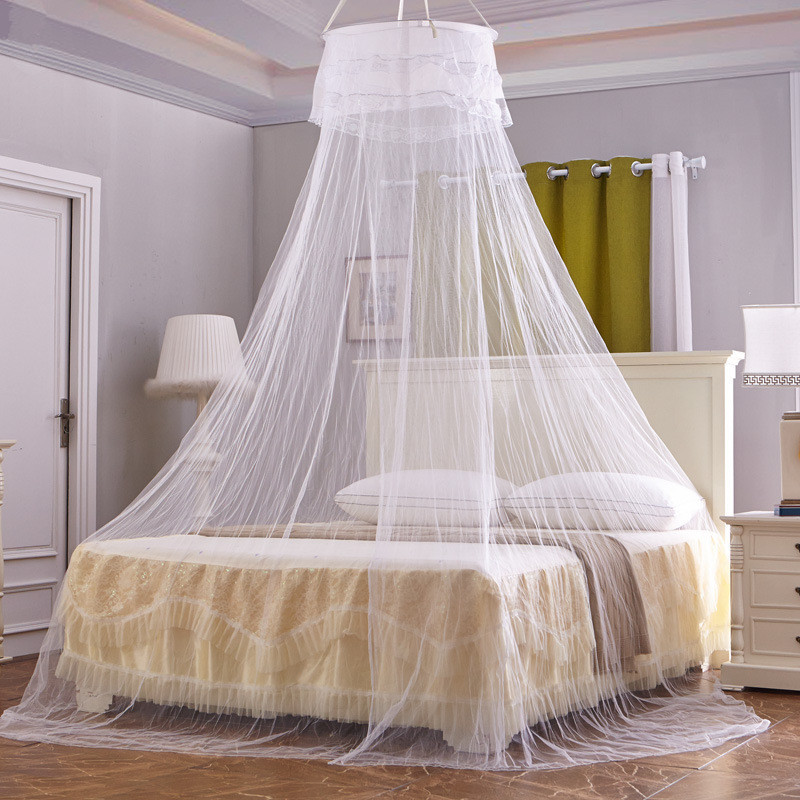 White Lace round mosquito net pink princess students insect bed canopy  netting romantic hung mosquito nets
