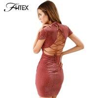FHTEX Frauen Sexy Backless Lace Up Minikleid Einfarbig Rollkragen Vintage Kleid Herbst Winter Promi Prom Party Kleider