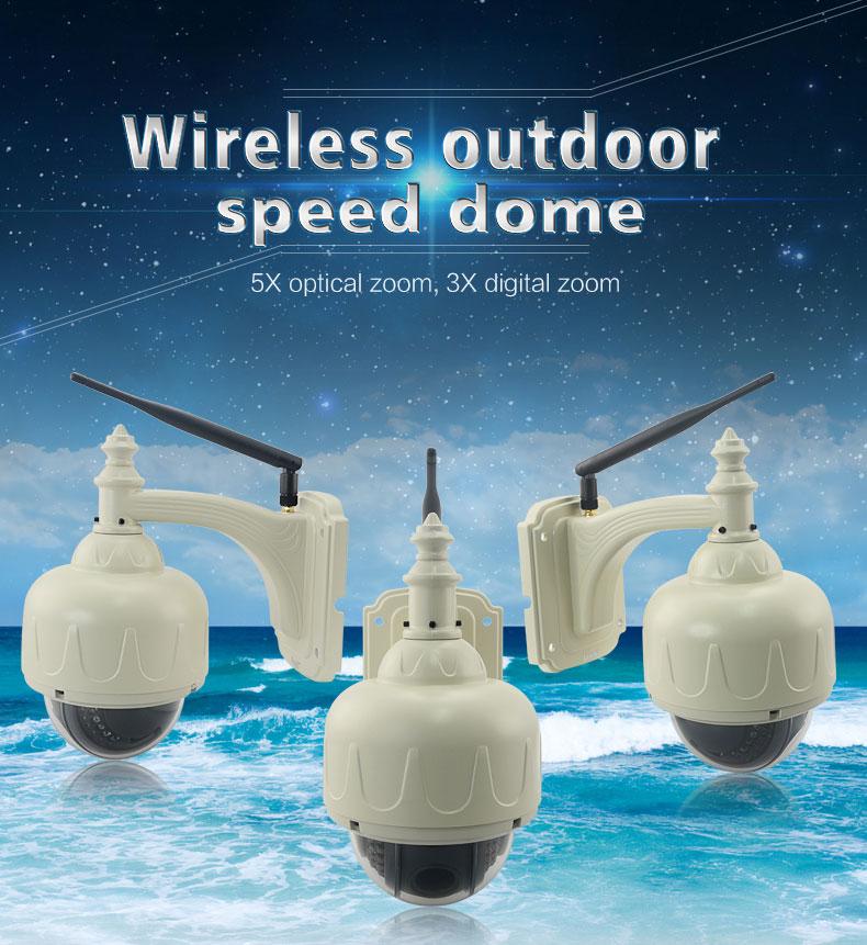 EasyN 1BF 5XZoom Mini Outdoor Waterproof Dome Pan Tilt 1.3MP IR-CUT 22 IR LEDs Wireless Surveillance Camera