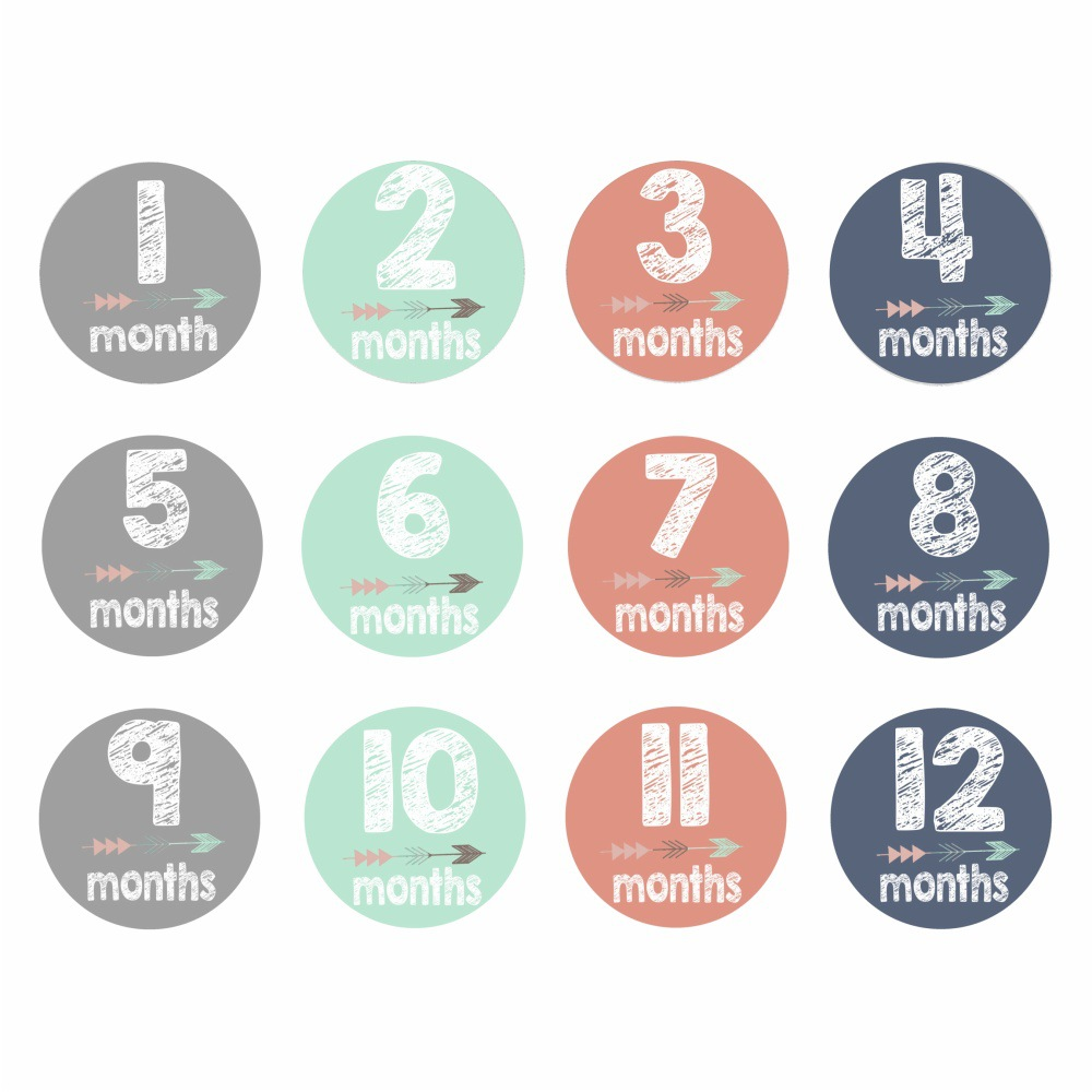 Hot 12Pcs/Set 1-12 Month Newborn Milestone Stickers DIY Kid Souvenirs Prop Infant Monthly Photograph Sticker Baby Teeth Box Gift