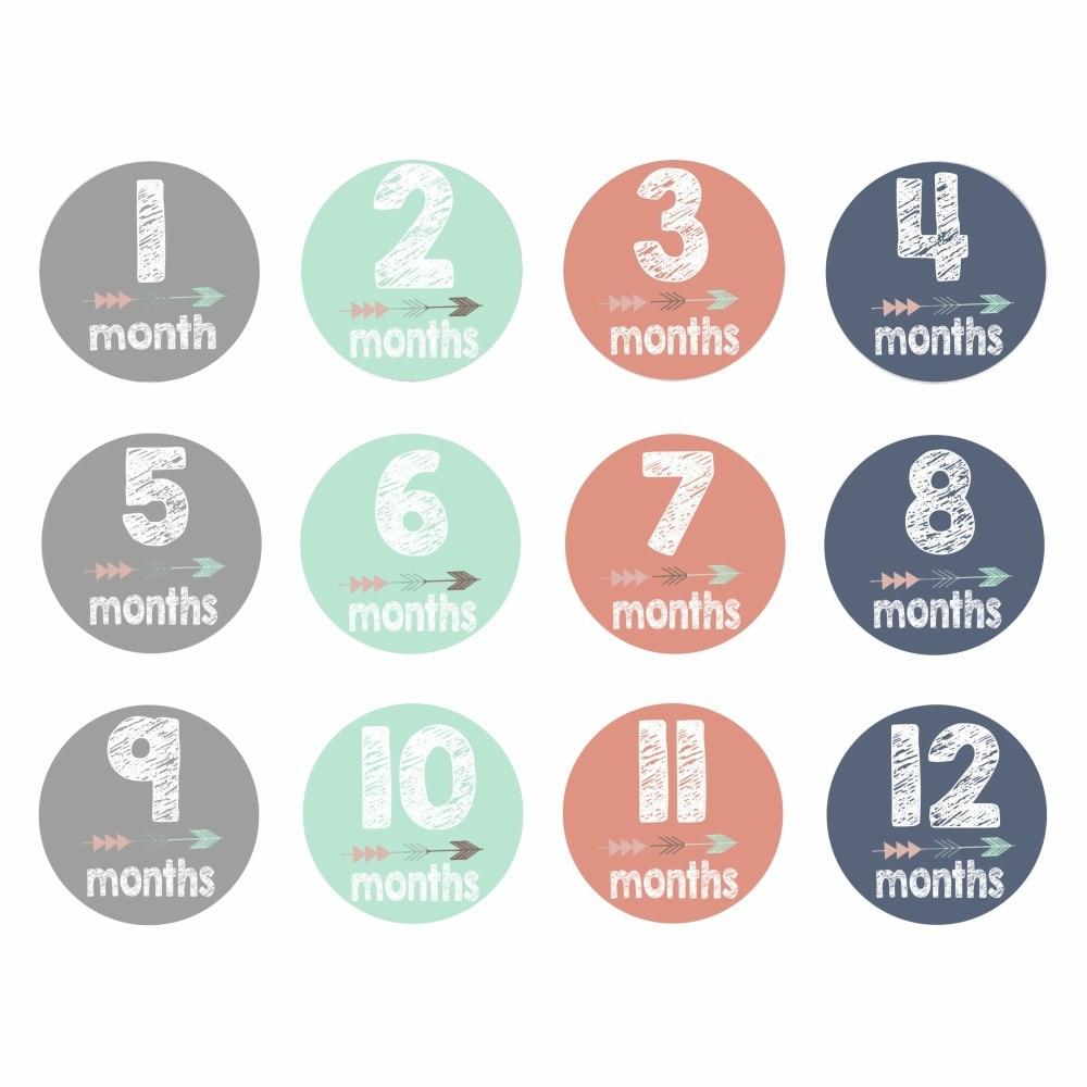 Hot 12Pcs/Set 1-12 Month Newborn Milestone Stickers DIY Kid Souvenirs Prop Infant Monthly Photograph Sticker Baby Teeth Box Gift