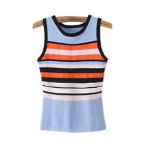 2016 early autumn new women's Korean fashion all-match color stripe sleeveless cotton Crewneck Sweater Vest Shirt