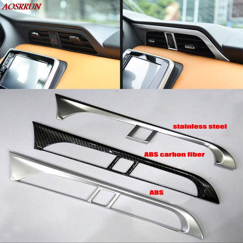 цена на For Nissan Kicks 2016 2017 LHD Matte Center Air Conditioning Outlet Decoration Cover Trim 3D Sticker car-styling car Accessories