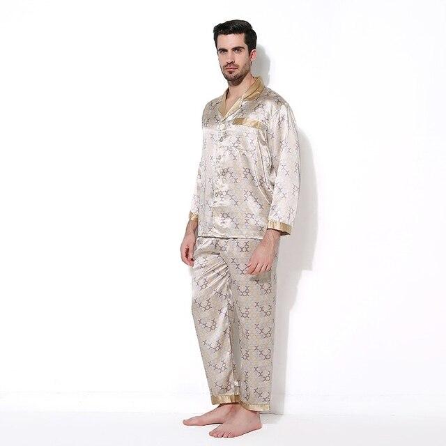 Luxury Male Sleepwear 100% Silk Long-Sleeve Men Pyjamas Pajama Sets Pants Autumn Men Silk Pajamas Set CMR16063