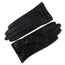 Genuien Leather Gloves Female Thicken Plush Lined Keep Warm Winter Touchscreen Driving Black Sheepskin Woman L17014-9