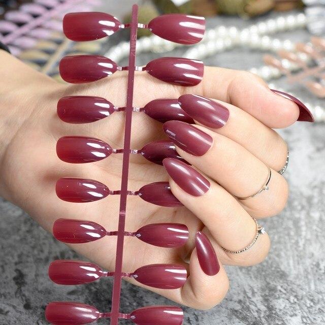 Tienda Online Almendra diseño acrílico Clavos vino rojo oscuro ...