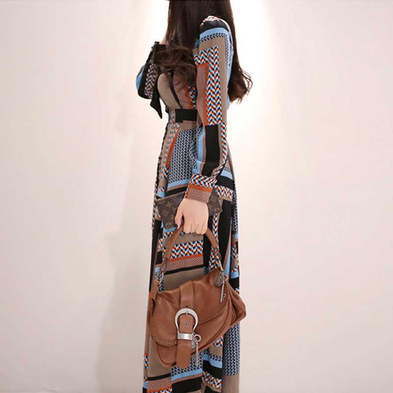 H Han Queen Vintage พิมพ์ชุดยาวผู้หญิง 2019 ฤดูใบไม้ผลิ Single-breasted เสื้อชุดเอว Swing ข้อเท้าความยาว Vestidos