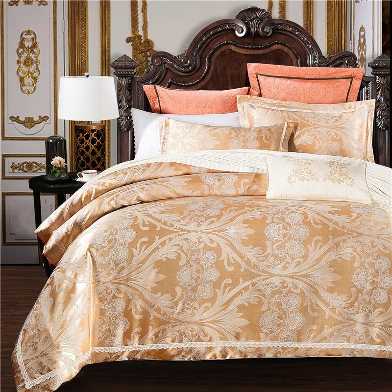 2017 Luxury Jacquard Silk Cotton Royal Bedding Set Lace