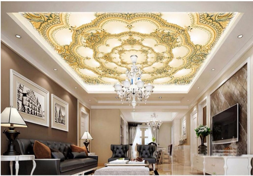 Custom photo 3d wallpaper ceiling mural European-style decorative pattern painting 3d wall murals wallpaper for walls 3 d custom 3d ceiling photo wave dolphin 3d ceiling murals wallpaper home decor wallpaper on the ceiling papel de parede