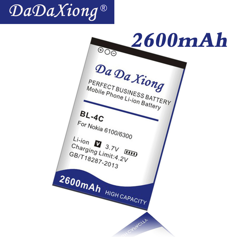 Da Da Xiong 2600mAh <font><b>BL</b></font>-<font><b>4C</b></font> BL4C Li-ion Phone Battery for <font><b>Nokia</b></font> 1202/ 1265/ 1325/ 1506/ 1508/ 1661/ 1706/ 2220s phone battery image