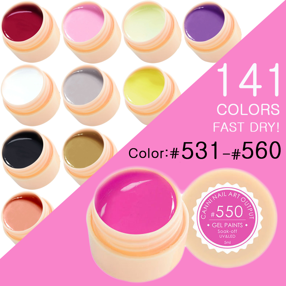 CANNI Nail Painting Gel Varnish 141 Pure Colors Gelpolish UV LED Soak Off Gel Nail Polish Color(531-560)