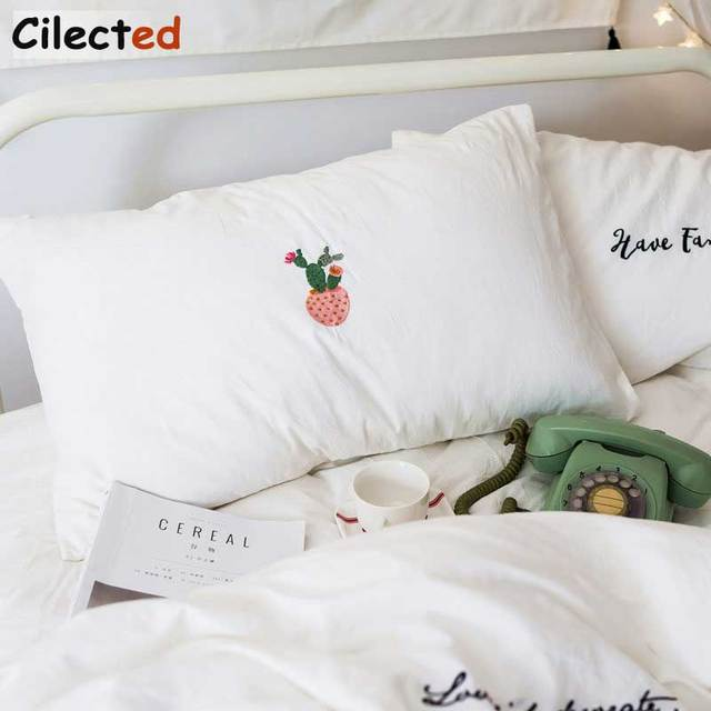 Cilected Cotton White Cactus Pillow Cases For Bedroom Designed Embroidery  Sleeping Pillow Cover Bedding For Him