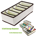 6 Cells Floding Collapsible  Bra Underwear Socks Storage Organizer Boxes Bag Case