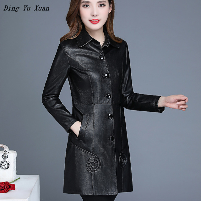 Women Solid Red Black Slim Fit Faux   Leather   Jacket Womens Pu   Leather   Long Trench Coat Plus Size Windbreaker 4XL 5XL 6XL