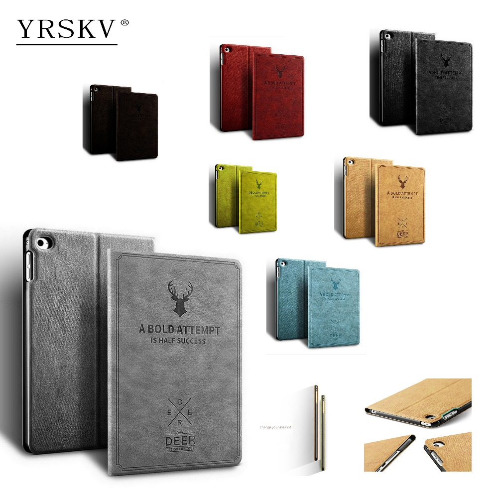 все цены на Case for Apple iPad mini 4 YRSKV high quality Smart sleep wake Retro Deer Pattern PU Leather Tablet Cover Case For Apple iPad