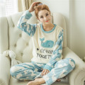 Female winter pajamas thick coral velvet lady warm flannel long-sleeved tracksuit Korean version of the cartoon Pyjamas