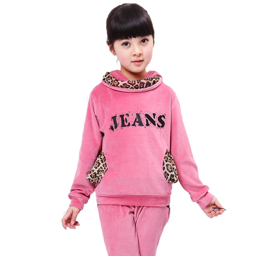 Brand Girls Clothing Sets Hoodies Coat & Pants Velvet Sports Suit Girls Tracksuits Kids Clothes Girls Clothes 2017 Spring Autumn teenage girls clothes sets camouflage kids suit fashion costume boys clothing set tracksuits for girl 6 12 years coat pants
