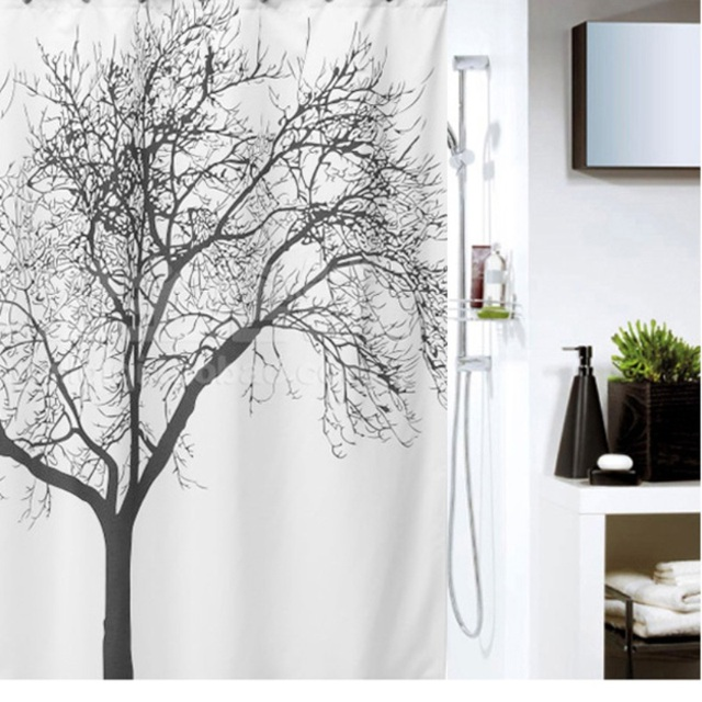 Big Black Scenery Tree Design Bathroom Waterproof Fabric Shower ...