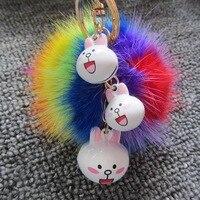Promocja Festiwal Prezent Kolorowe 8 cm Mink Fur Ball Brelok Królik Pompom Dzwon Klucz Buckle Kobiety Torba Wisiorek Klucz Samochodowy brelok