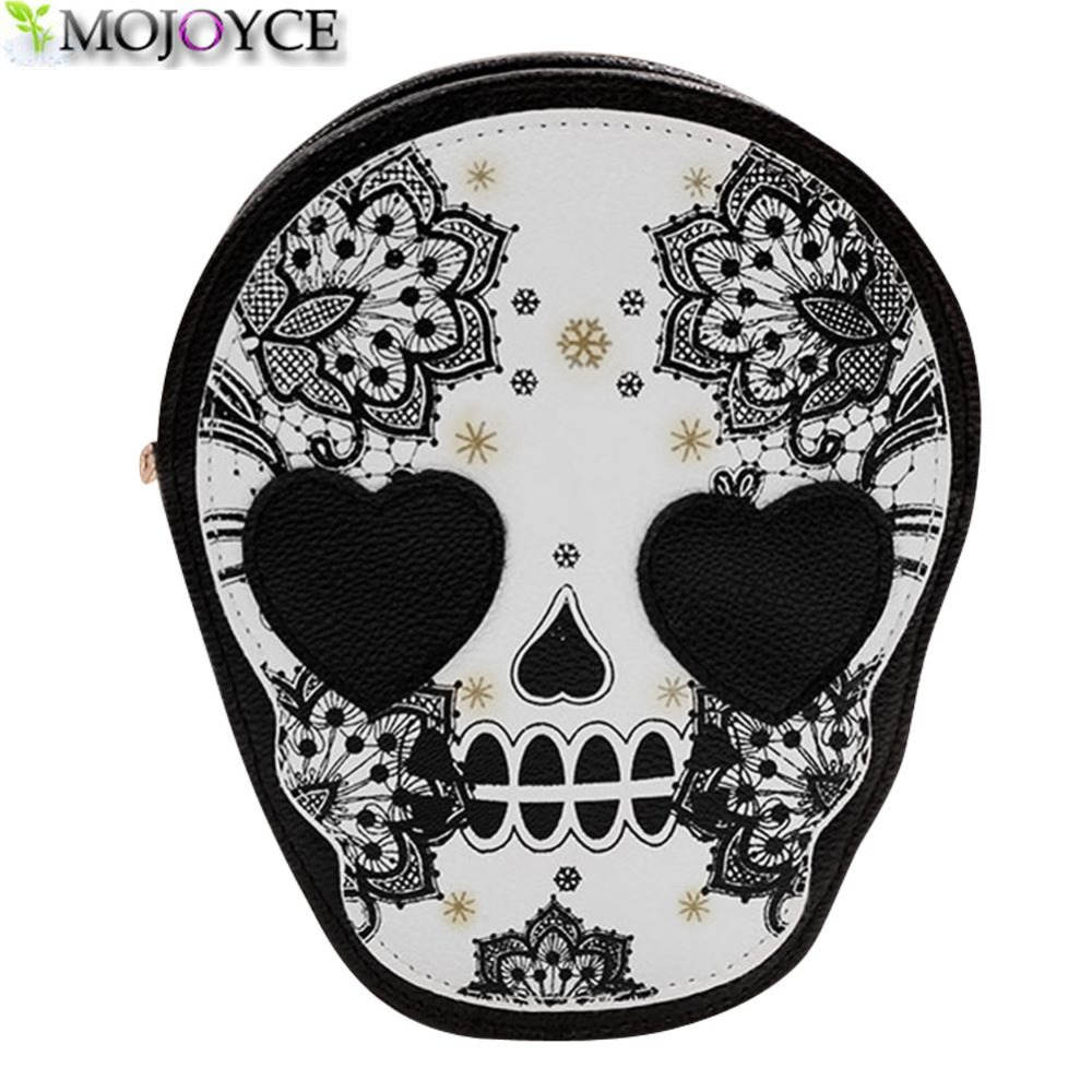 Street Style Skull Floral Heart Cat Crossbody Bag Black Zipper Head Mini Dual Purposes Shoulder Messenger Bag for Women large 24x24 cm simulation white cat with yellow head cat model lifelike big head squatting cat model decoration t187