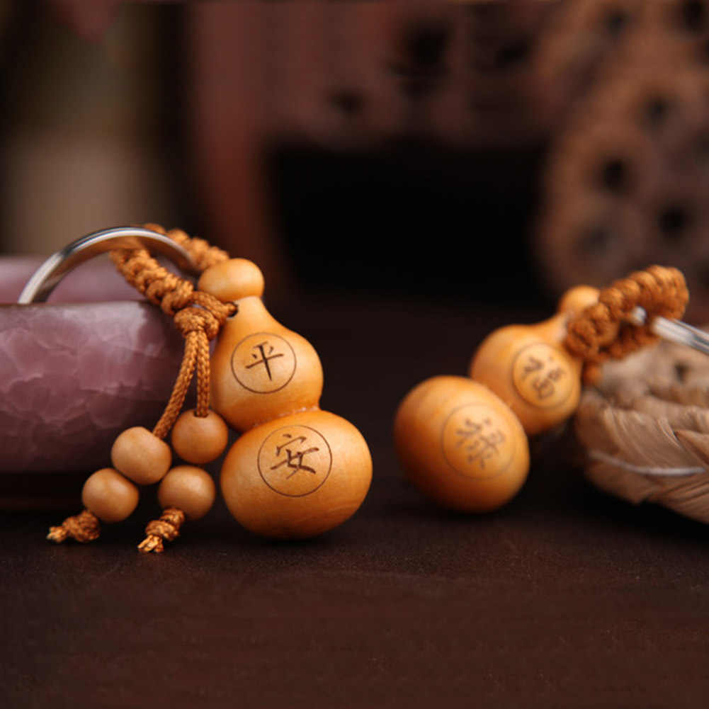 Heißer Chinesischen Traditionellen Gutes Luck Kürbis Keychain Nette Mini Pfirsich Holz Schlüssel ring Wunsch Glück Anhänger Auto Schlüssel Ornamente