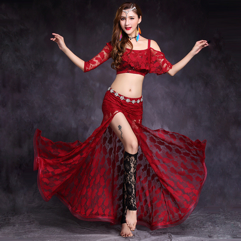 2019 New Women Lady Belly Dance Costume Set Bellydance Practice Clothes For Adult Lace Sling Slit Skirt