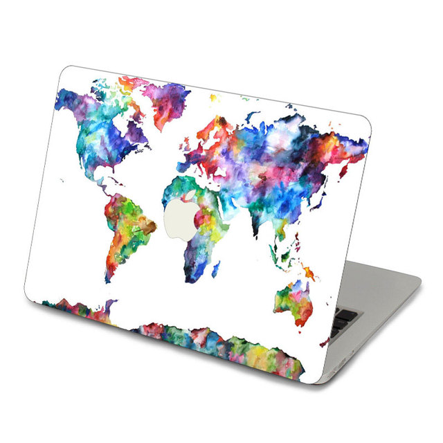 Watercolor world maps top vinyl front decal laptop skin for apple watercolor world maps top vinyl front decal laptop skin for apple macbook air pro retina 11 gumiabroncs Gallery