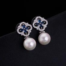 5aabde8b71f0 Nueva joyería de moda perla Pendientes brincos Pendientes CZ para mujer  Pendientes de botón Pendientes de moda de Plata de Ley 9.