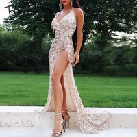 Tobinoone 2018 Women vintage dress Apparel Sexy sequin tassel beach party Club Wear Maxi long dresses sexy Gold sequined Robe