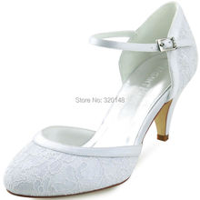 Woman White Ivory Round Toe Mid Heel Mary Jane Buckle Lady Bride Lace Pumps Bridesmaids Wedding Bridal Dress Shoes HC1508