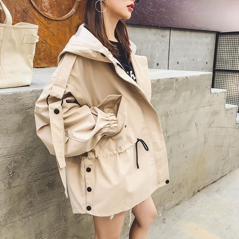 2019 Casual Spring Casual   Trench   Coat Women Zipper Hooded Short Windbreaker Female Loose Plus Size Outerweat Female QH364