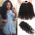 Peerless Virgin Hair Water Wave Brazilian Hair With Closure 8A Wet And Wavy Virgin Brazilian Curly Weave Human Hair With Closure