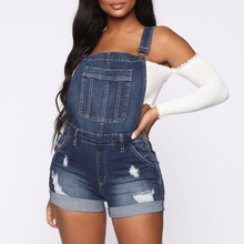 Jumpsuit Casual Women Playsuit Rompers Washed Button Denim Blue Overalls Streetwear Ripped Hole Slim Jean Short Jumpsuits H40