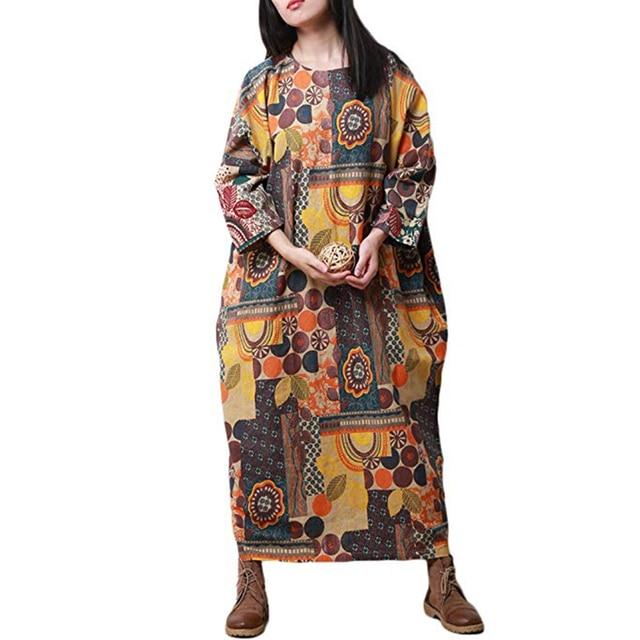 Hisenky 2018 Women Ethnic Long Shirt Dress Plus Size Cotton Dress 3 4  Sleeve Gown cc1eda8af349