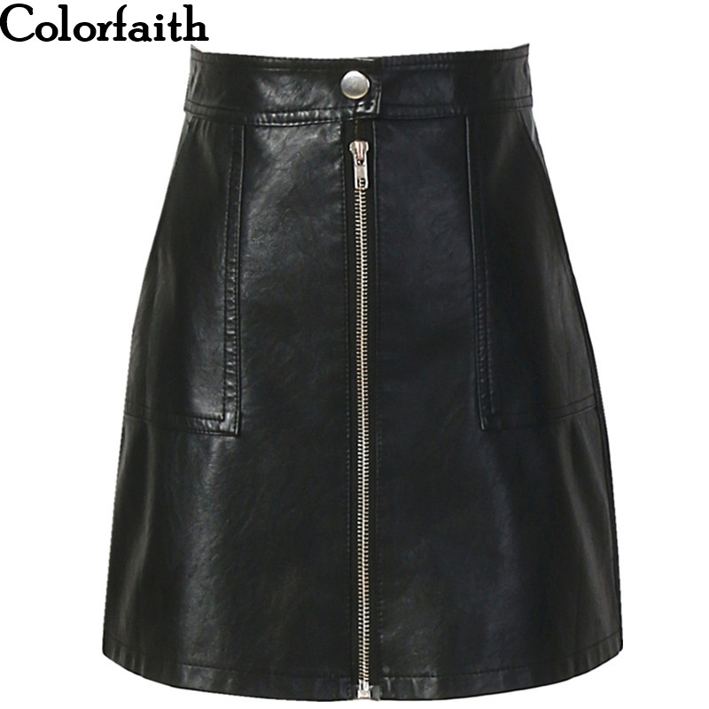 2019 Autumn Winter Women Skirt PU Leather Sexy Mini Skirt With Pockets Zipper A line Package