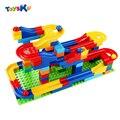 Frete grátis diy construção de mármore corrida corrida labirinto bolas rastrear nenhuma caixa de plástico casa building blocks brinquedos para crianças de natal
