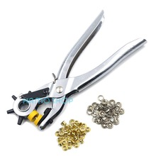 3in1 Leather Plier Punch Tool Hole Eyelets Snap Belt Setter Grommet Press Set metal manual grommet machine hand press eyelets spot snap button punch tool