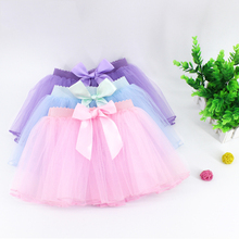 Toddler Kids Bowknot Tulle Skirt Children Girls Elastic Waist Ballet Dance Skirt Cute Dance Tutu недорого