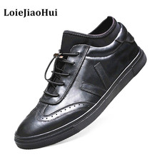 Luxury Big Size Men Genuine Leather Casual Shoes High Quality Brogues Flats Shoes Leisure Board Shoes Outdoor Office NS018