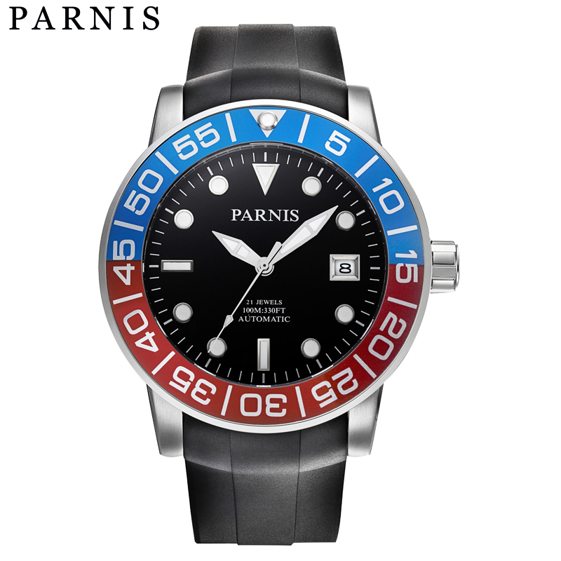 Fashion 42mm Parnis Watch Sapphire Red Blue Rotating Bezel Automatic Watch Men Luminous Number Water Resistant 100M